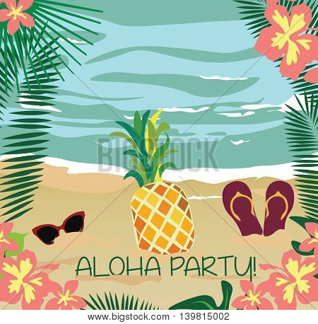 Summer beach with Palm leaves ananas fruit and flowers. Hawaii tropic Card. Vector Holiday Tropical Exotic background