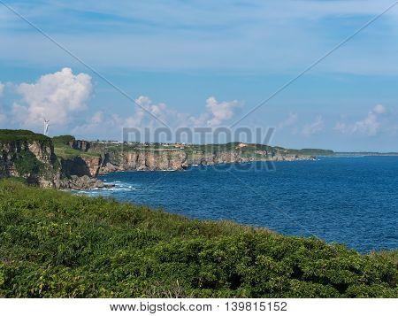 Nanamata Coast and Cape of Higashi Henna Zaki of Miyako Island in Okinawa, Japan.