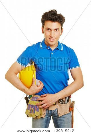 Construction worker with hardhat and tool belt in front view