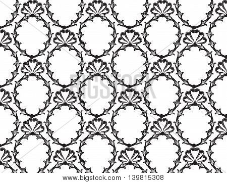 Vector Vintage Baroque pattern background. Classic luxury rococo damask ornament royal Victorian texture for textile wrapping. Exquisite floral baroque template
