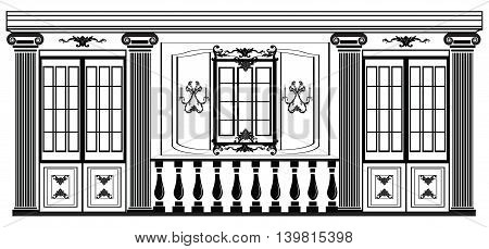 Vector architectural facade. Wire frame blueprint drawing of classic luxury building. Vector architectural template background