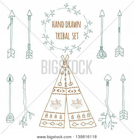 Set of arrow and wigwam. Ethnic doodle collection with decorative elements. Ink hand drawn illustration for invitation wedding greeting card and web design