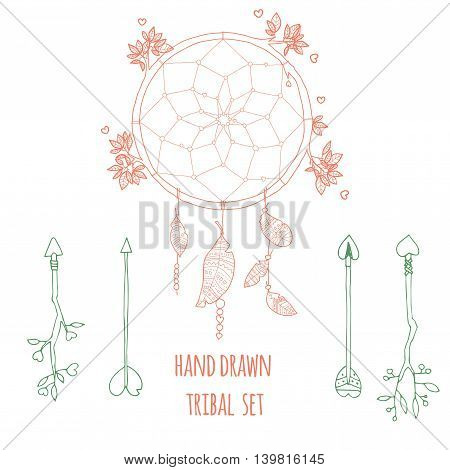 Set of arrow and dreamcatcher. Ethnic doodle collection with decorative elements. Ink hand drawn illustration for invitation wedding greeting card and web design