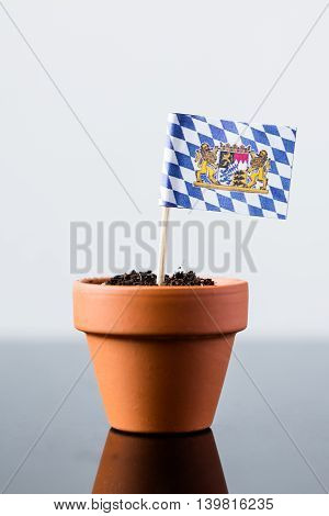 Flag Of Bavaria In A Plant Pot