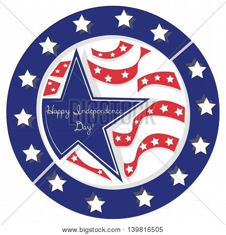 Happy Independence Day Blue Stars American Flag. Vector