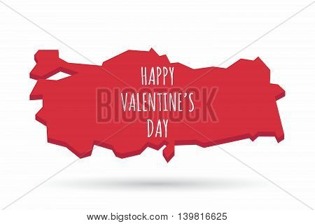 Isolated Turkey Map With    The Text Happy Valentines Day