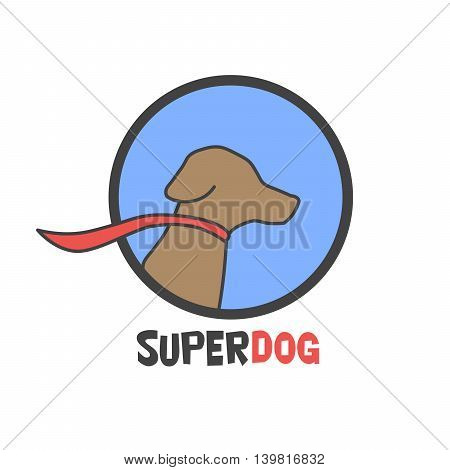 Blue super dog with a cape - vector logo illustration.