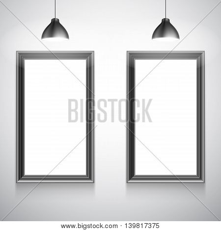Two blank white poster frames inside gallery interior. Poster mock-up template