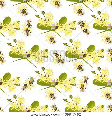 Honey bee with linden blossom vector. Bee seamless pattern honeycomb linden blossom hexagon nature flowers. Linden blossom bee seamless pattern honey bee design shape organic hive linden blossom.