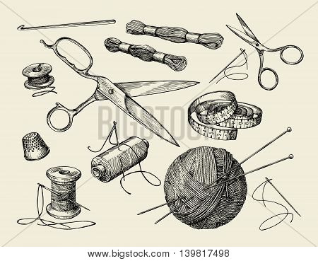 Sewing notions. Hand-drawn thread, needle, scissors, ball of yarn, knitting needles, crochet Vector illustration