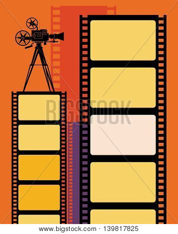 Vintage Abstract cinema or film background, vector illustration