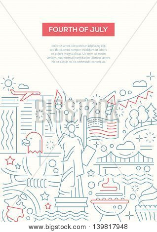 Independence Day - vector line design brochure poster, flyer presentation template, A4 size layout. July 4th, USA, American symbols, statue of Liberty, BBQ, firework