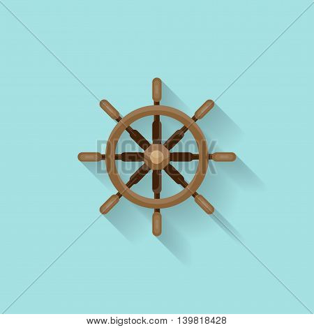 Ship steering wheel in a flat style. Sailing, travel. Sailboat, sea holidays. Vector illustration