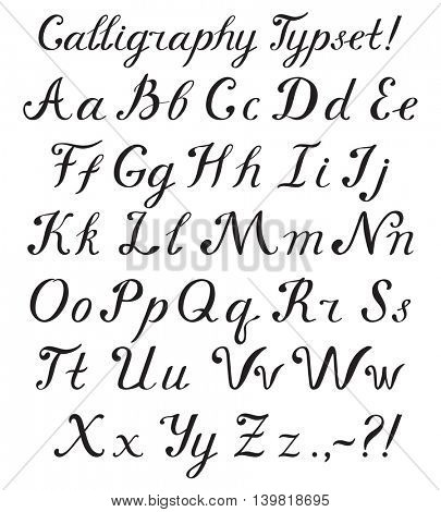 Hand drawn brush calligraphy alphabet letters. Vector stylish font isolated on white background.