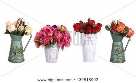 Flowers in vase decor set isolated on white