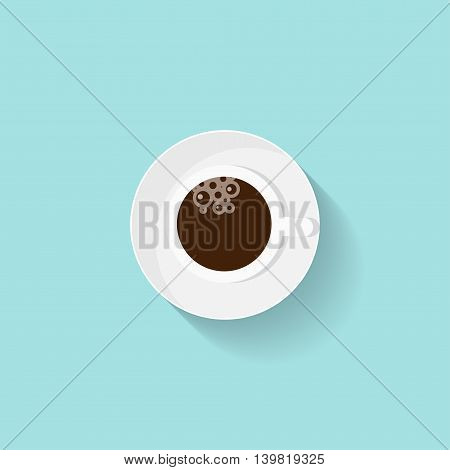 Cup of coffee in a flat style. Morning drink. Vector illustration
