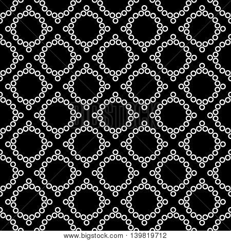 Polka dot rhombus geometric seamless pattern. Fashion graphic background design. Modern stylish abstract texture. Monochrome template for prints textiles wrapping wallpaper etc VECTOR illustration