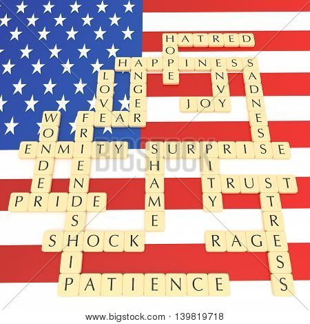 Letter tiles: English words feelings and emotions with US flag 3d illustration