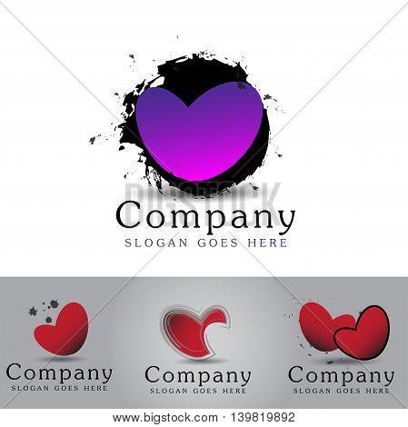 Heart symbol logo isolated on white background