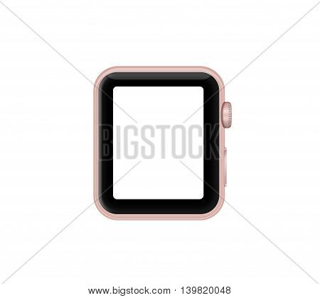Isolated Rose Gold Aluminum Case Smart Watch