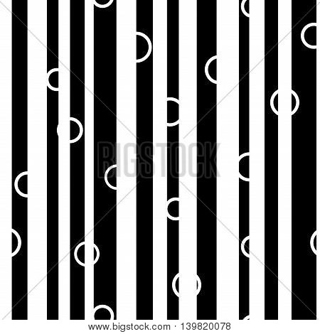 Line and circle chaotic seamless pattern. Fashion graphic background design. Modern stylish abstract monochrome texture. Template for prints textiles wrapping wallpaper website VECTOR illustration