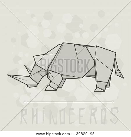 Vector simple illustration paper origami of rhinoceros.