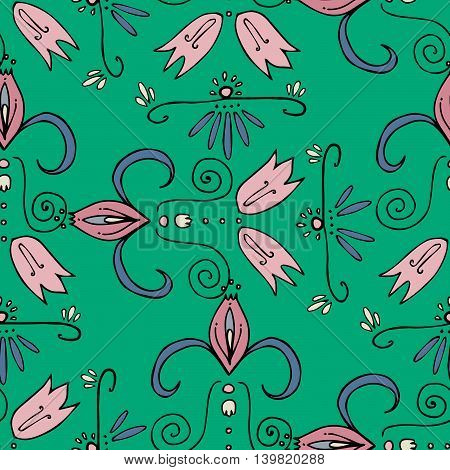 Pink bellflowers ornaments on green background. Curly lines. Seamless pattern, vector eps 10. Hand drawn graphics fo fabric, prints, designs.