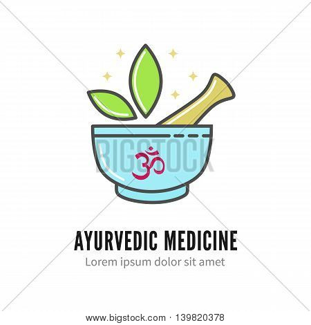 Mortar and pestle alternetive ayurvedic medicine logo, vector logo template isolated on white. Thin linear ayurvedic pharmacy logotype, herbal alternative medicine icon