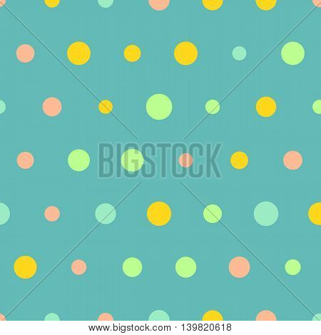 Seamless polka dot pattern, vector background. Colorful dots on blue background