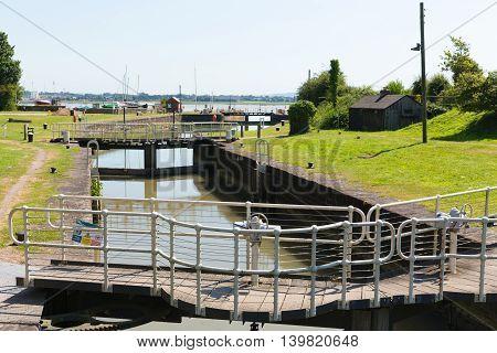 Lydney harbour lock gates Gloucestershire England uk