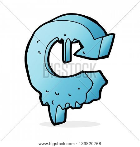cartoon melting arrow symbol