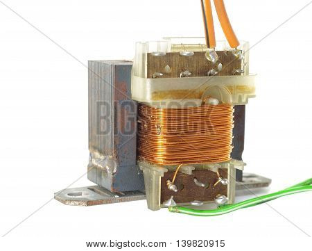 old transformer with wire on white background