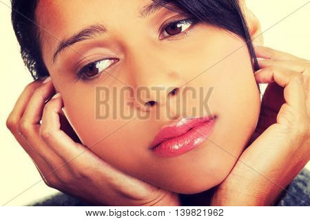 Young beautiful woman in depression.