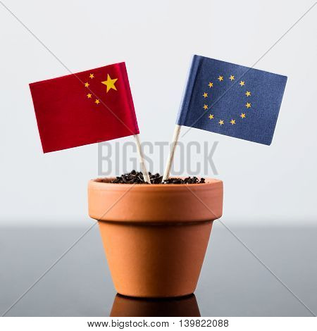 Flags Of China And Europe