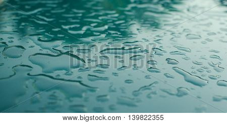 Water drops on a glass and background