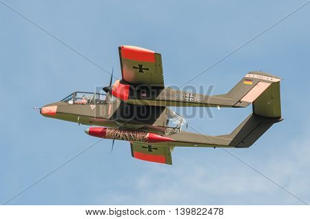 FARNBOROUGH, UK - JULY 18: Vintage Rockwell OV-10 Bronco light attack aircraft on take-off from Farnborough, UK on July 18, 2016