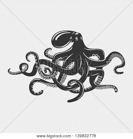 Octopus with feeding tentacles and wavy arms with suction cups on it. Camouflaging cuttlefish and swimming mollusk, underwater cephalopod and monster squid. Tattoo and mascot theme
