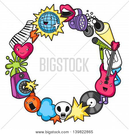 Music party kawaii frame. Musical instruments, symbols and objects in cartoon style.