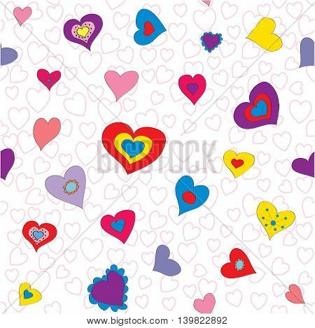 Vector seamless pattern background with bright hearts. For  backgrounds decoration for your design page fill and more.