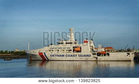 Vung Tau, Vietnam, 30th June 2016. Patrol vessel of the Vietnam Coast Guard (VCG; Vietnamese: Cảnh sát biển Việt Nam) at anchor in harbor.