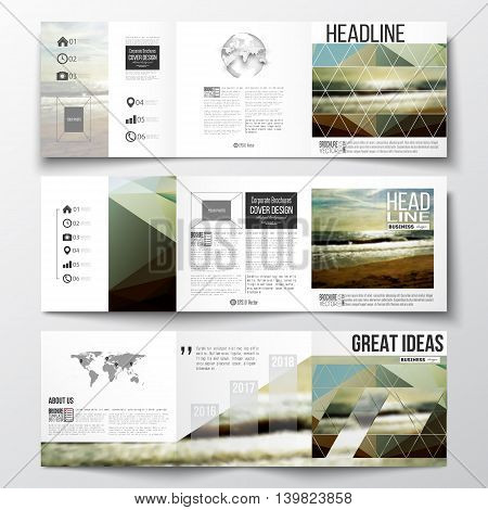 Vector set of tri-fold brochures, square design templates with element of world map and globe. Colorful polygonal backdrop, blurred background, sea landscape, modern stylish triangle vector texture
