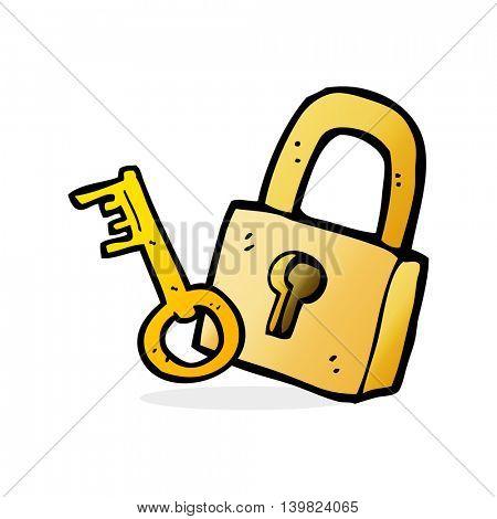 cartoon padlock and key