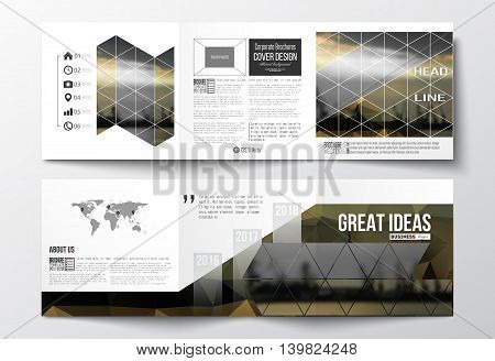 Vector set of tri-fold brochures, square design templates with element of world map. Colorful polygonal background with blurred image, seaport landscape, modern stylish triangular vector texture.