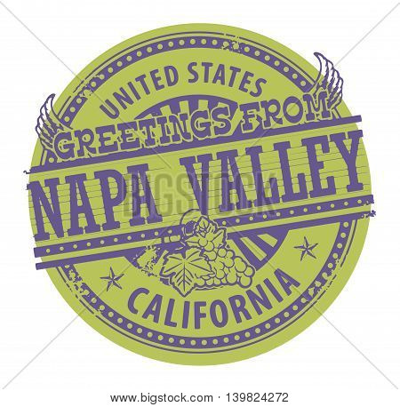 Grunge color stamp with text Greetings from Napa Valley, vector illustration