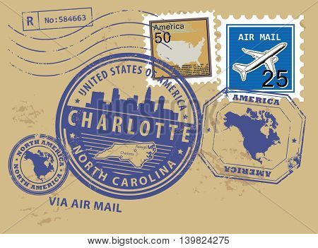 Grunge rubber post stamps set with name of North Carolina, Charlotte, vector illustration