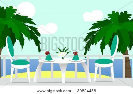 The outdoor terrace, dinner on the ocean, a Desk, a chair, a glass of wine, beach, palm tree, vector illustration