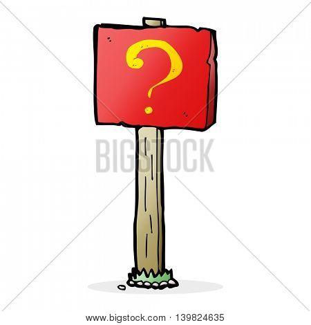cartoon question mark sign post