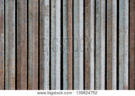 Metal iron folding vertical rod for texture background