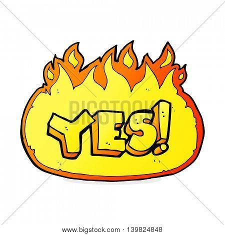 cartoon flaming yes symbol