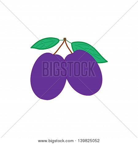 Sign flat plum. Fruit icon isolated on white background. Color organic food with green leaf symbol. Healthy concept. Trendy eco vegetarian plane mark. Agriculture logo. Stock vector illustration